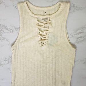 AMERICAN EAGLE Cream Lace-up Crop Top S